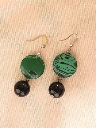 Green Black Beaded Earrings With Malecite And Onyx
