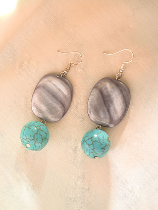 Grey Turquoise Beaded Earrings With Mother Of Pearl