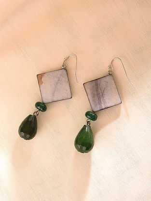 Grey Green Beaded Earrings With Agate And Mother Of Pearl
