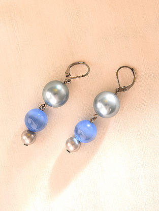 Grey Blue Beaded Earrings With Pearls And Cat Eye