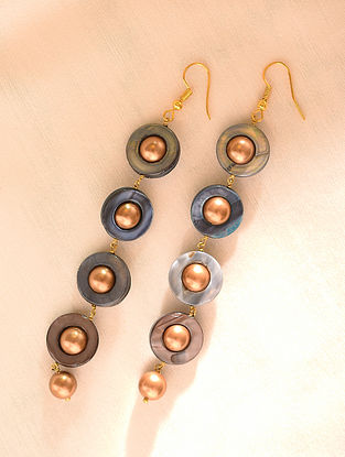 Grey Gold Tone Beaded Earrings With Pearls And Mother Of Pearl