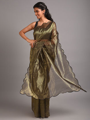 Green Silk  Saree With Zari Stripes