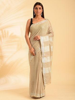 Beige Handwoven Natural Dyed  Linen Cotton Saree
