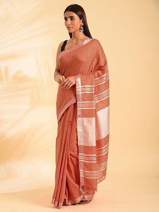 Pink Handwoven Natural Dyed  Linen Cotton Saree