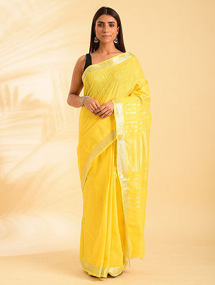 Yellow Handwoven Natural Dyed  Linen Cotton Saree