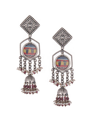 Hand Painted Tribal Silver Earrings With Pearls