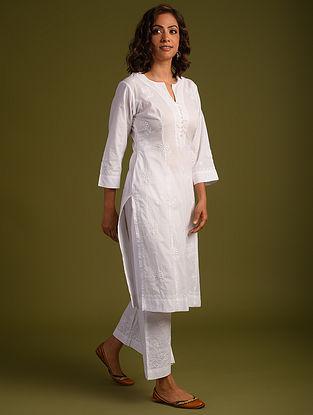 White Chikankari Cotton Kurta