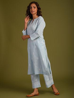 Blue Chikankari Cotton Kurta and Pants