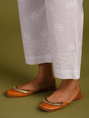 White Chiknkari Cotton Pants