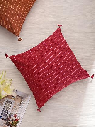 Hand Done Shibori Olive Green Cotton Slub Cushion Cover (L-16in, W-16in)