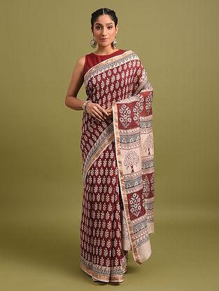 Red Bagh Printed Silk Cotton Saree
