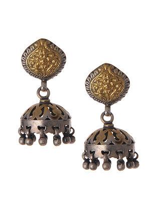 Dual Tone Silver Jhumki Earrings