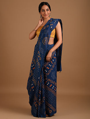 Blue Bandhani Mul Cotton Saree