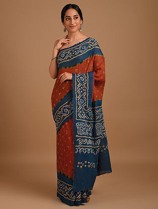 Orange Bandhani Mul Cotton Saree