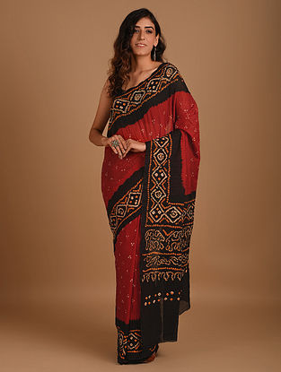 Red Bandhani Mul Cotton Saree