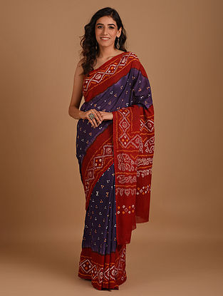 Purple Bandhani Mul Cotton Saree