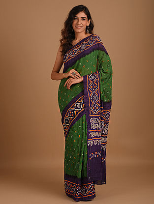 Green Bandhani Mul Cotton Saree