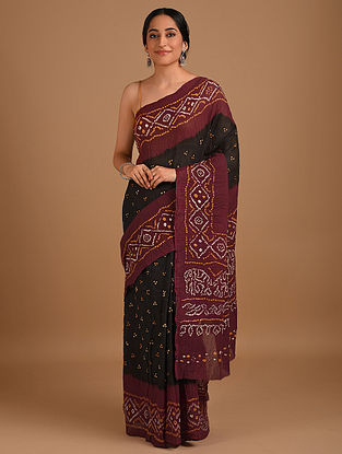 Black Bandhani Mul Cotton Saree