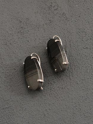 Grey Jasper Silver Earrings