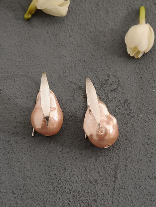 Orange Baroque Pearl Silver Earrings