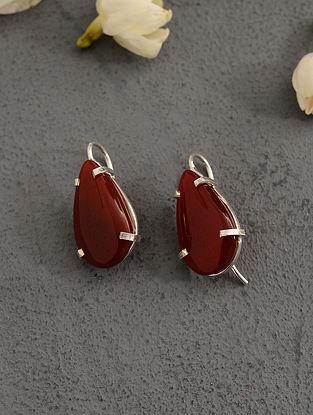 Red Carnelian Silver Earrings