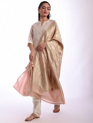 Pink Benarasi Handwoven Silk Dupatta
