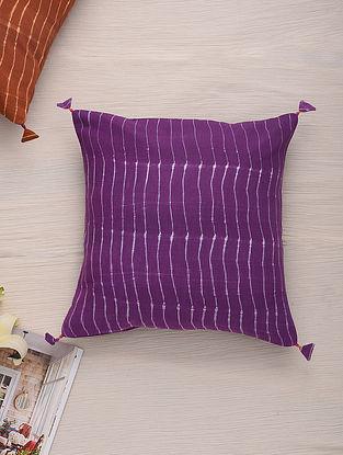 Hand Done Shibori Rosewood Red Cotton Slub Cushion Cover