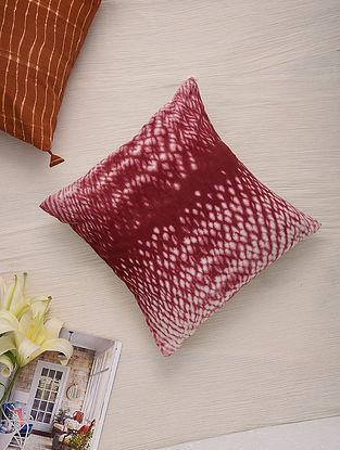 Hand Done Shibori Crimson Red Cotton Slub Cushion Cover (L-16in, W-16in)