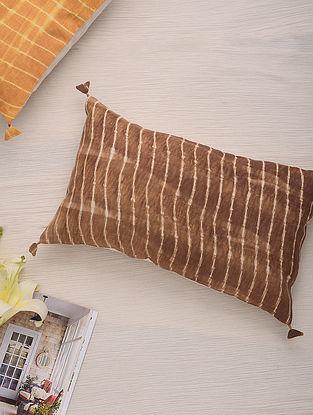 Hand Done Shibori Mocha Cotton Slub Cushion Cover (L-20in, W-12in)