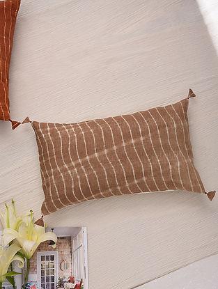 Hand Done Shibori Mocha Cotton Slub Cushion Cover (L-12in, W-12in)