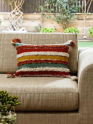 Multicolour Cotton Bodrum Kilim Cushion (L- 19.5in, W- 14in)
