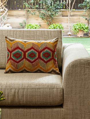 Multicolour Cotton Mardin Kilim Cushion (L- 19.5in, W- 14in)