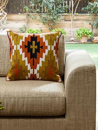 Multicolour Cotton Kas Kilim Cushion (L- 18in, W- 18in)