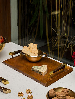 Gold and Wood Marigold Cheese Platter (L- 15.5in, W- 9.5in, H- 2.3in)