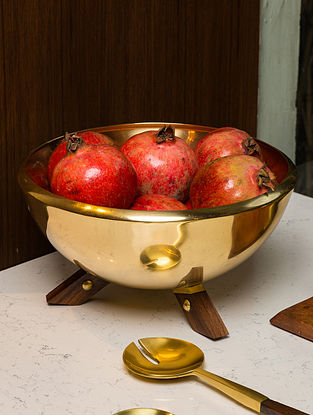 Gold and Wood Marigold Salad Bowl (Dia- 10.2in, H- 5.5in)
