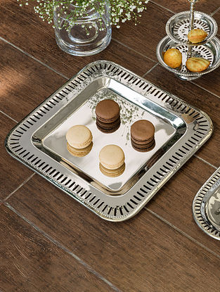 Nickel Plated Victorian Square Platter (L- 12in, W- 12in)