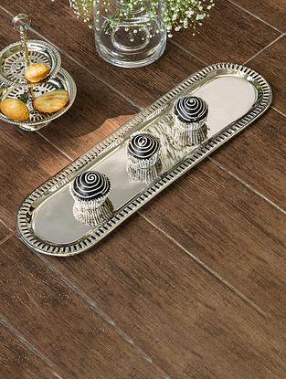 Nickel Plated Victorian Oval Platter (L- 19.5in, W- 5.5in)