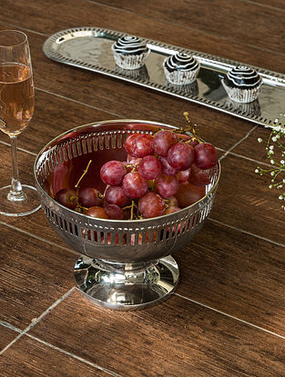 Nickel Plated Victorian Fruit Bowl (Dia- 8in, H- 6.2in)