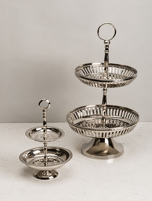 Nickel Plated Victorian High-Tea Cake Stand (Dia- 8.2in, H- 14.5in)