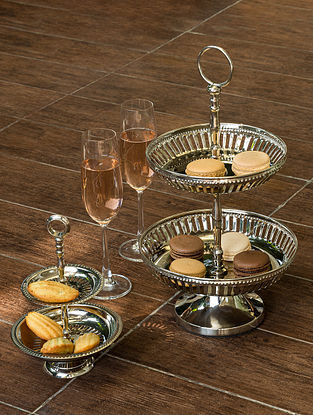 Nickel Plated Victorian High-Tea Cake Stand (Dia- 5.5in, H- 8.5in)
