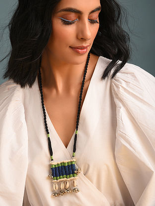 Green Blue Handcrafted Fabric Necklace With Shells And Ghungroo