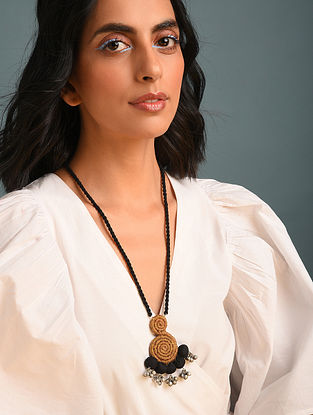 Mustard Black Handcrafted Fabric Necklace With Ghungroo