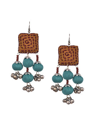 Mustard Blue Handcrafted Fabric Earrings With Ghungroo