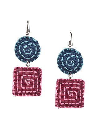 Pink Blue Handcrafted Fabric Earrings