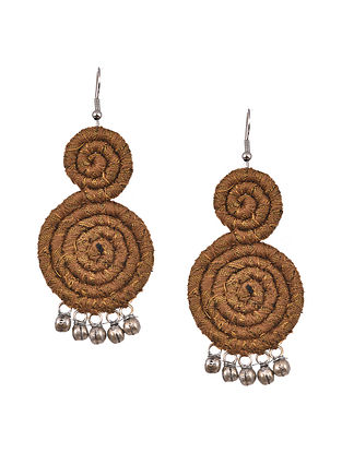 Mustard Handcrafted Fabric Earrings With Ghungroo