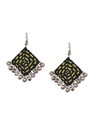 Black Yellow Handcrafted Fabric Earrings With Ghungroo
