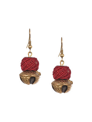 Red Gold Tone Handcrafted Fabric Earrings