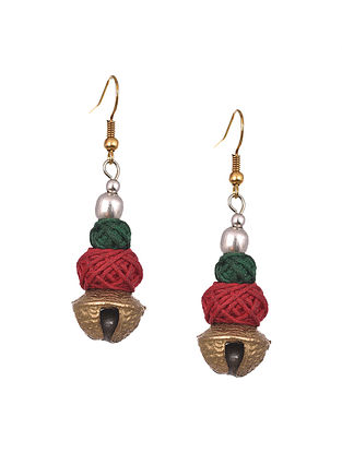 Green Red Handcrafted Fabric Earrings With Pearls