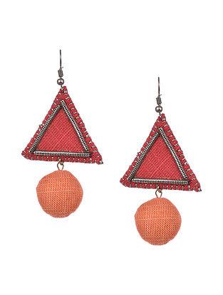 Peach Orange Handcrafted Fabric Earrings