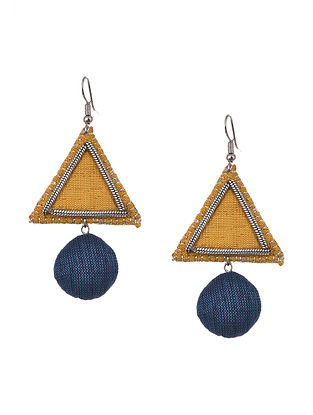 Yellow Blue Handcrafted Fabric Earrings